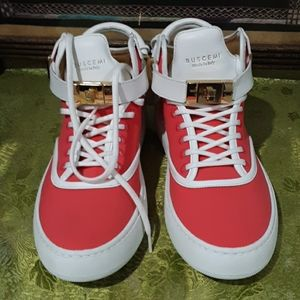 BUSCEMI SNEAKERS LEATHER TRIM RED 39